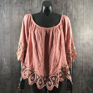 Ambiance Plus Size 2X Blush Boho Off Shoulder Top